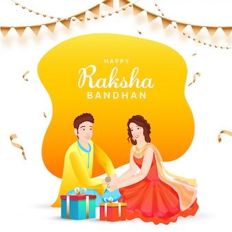 Concetto felice di raksha bandhan con la bella ragazza che lega rakhi (polsino) sul polso e sui contenitori di regalo di suo fratello.