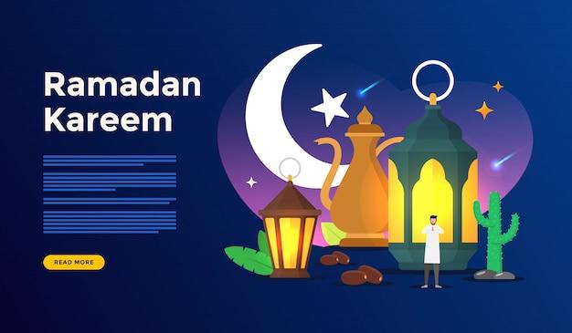 Concetto felice di saluto del ramadan kareem con il carattere della gente per il modello della pagina di atterraggio di web