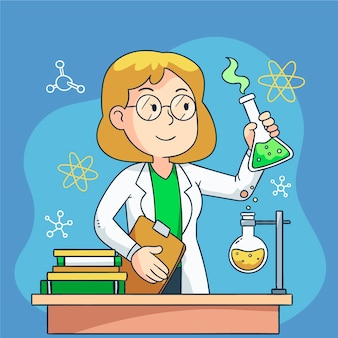 Concetto femminile dello scienziato per l'illustrazione