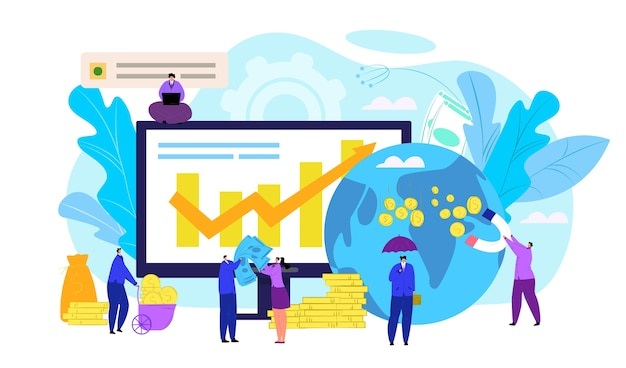 Concetto finanziario del mercato azionario, illustrazione. exchange trader desk, monitoraggio persone, previsione dati indici finanziari online. diagrammi e analisi dei grafici del mercato azionario.