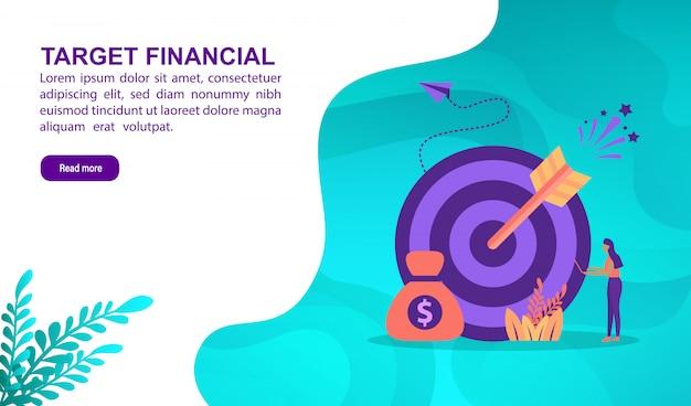 Concetto finanziario dell'illustrazione dell'obiettivo con il carattere. modello di pagina di destinazione