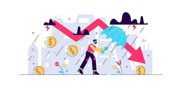 Concetto finanziario della tempesta di recessione, illustrazione minuscola dell'uomo d'affari. recessione dell'economia mondiale e rischio di collasso del mercato globale. sfide di perdita di fallimento di affari e freccia di arresto del mercato azionario.