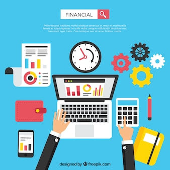 Concetto finanziario moderno con il computer portatile