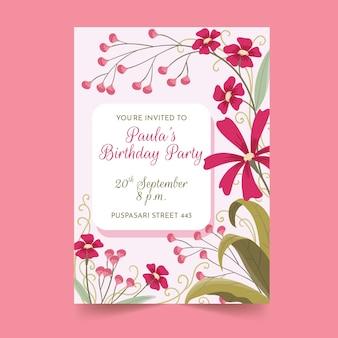 Concetto floreale del modello del biglietto di auguri per il compleanno