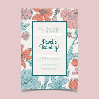 Concetto floreale del modello dell'invito del biglietto di auguri per il compleanno
