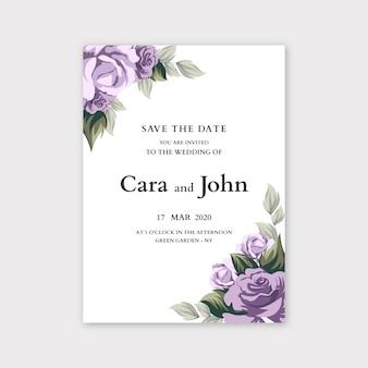 Concetto floreale del modello dell'invito di nozze
