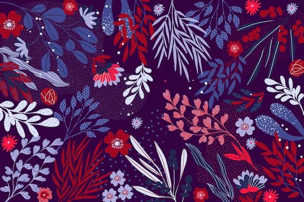 Concetto floreale dell'estratto di progettazione piana per la carta da parati