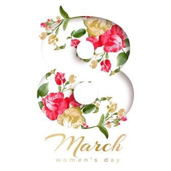 Concetto floreale di tema del giorno delle donne