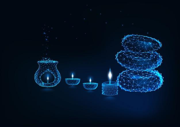 Concetto futuristico del ricorso di stazione termale con la lampada di aromaterapia, le lampade a olio, le candele e le pietre di zen.