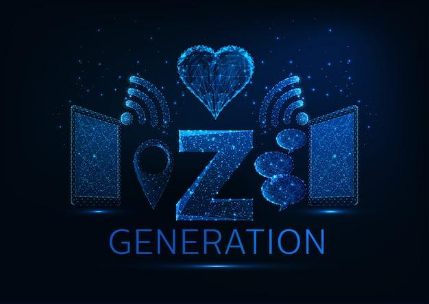 Concetto futuristico di generazione z con tablet, wi-fi, simboli pin gps, bolle di discorso, a forma di cuore