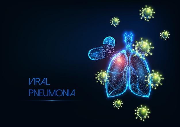 Concetto futuristico di trattamento medico della polmonite virale covid-19 coronavirus