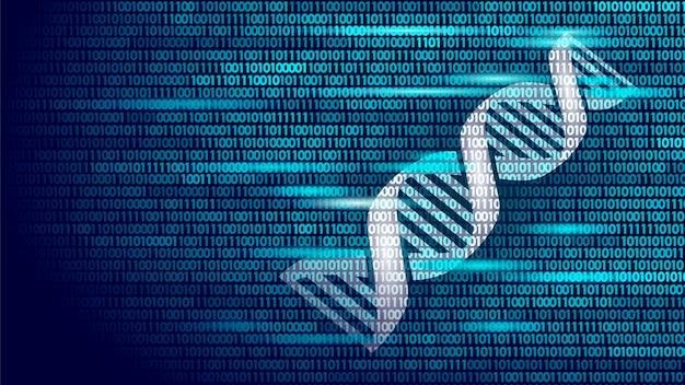 Concetto futuro di tecnologie informatiche di codice binario del dna, scienza del genoma