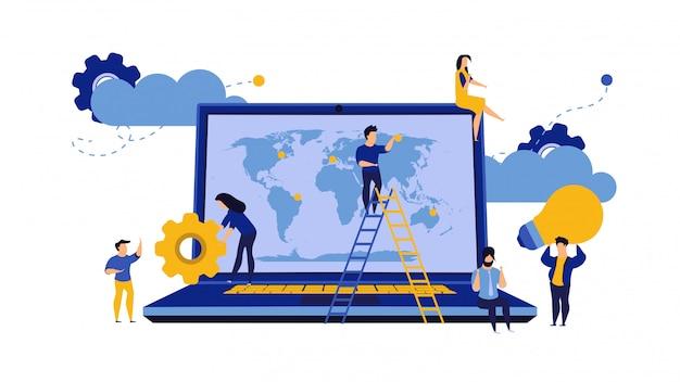 Concetto globale della mappa di vettore della terra di affari con il computer portatile.