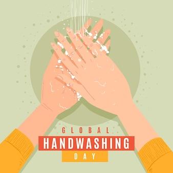 Concetto globale di giorno del lavaggio delle mani