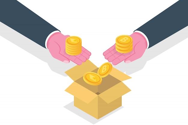 Concetto ico, offerta iniziale di monete. illustrazione.