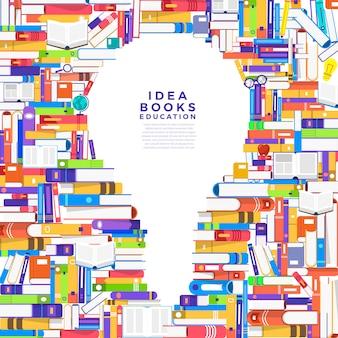 Concetto il libro è una lampadina. crea un libro per icon idea. illustrare.