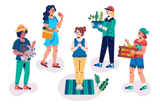 Concetto illustrato gente verde di stile di vita