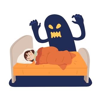 Concetto illustrazione della paura di un bambino di ombre fantasma sul letto