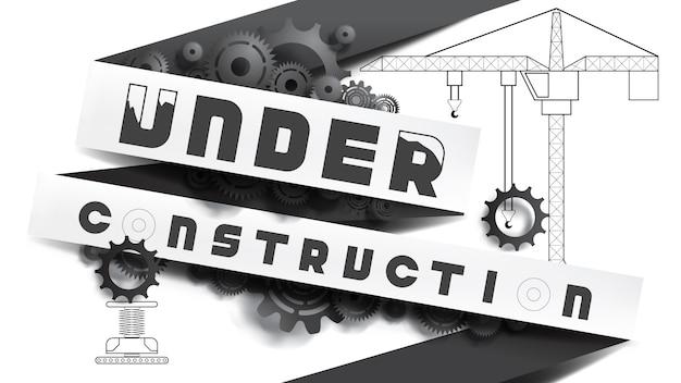 Concetto in costruzione. bianco e nero, stile taglio carta mescolato con disegno a matita