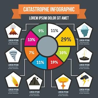 Concetto infografica catastrofe, stile piatto