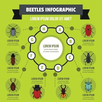 Concetto infografica di beatles, stile piano