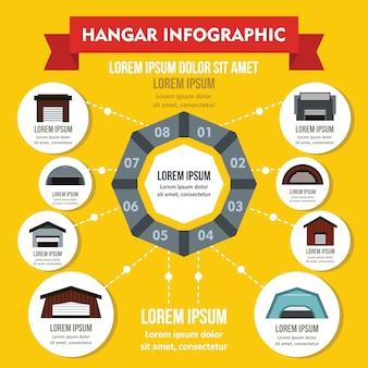 Concetto infografica hangar, stile piatto