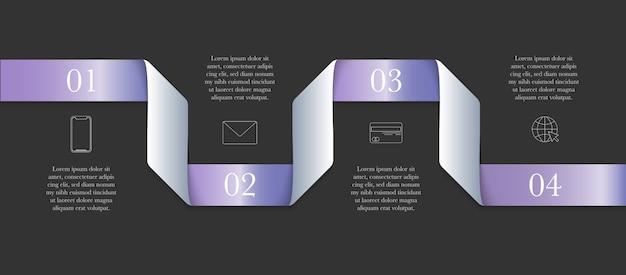 Concetto infographic moderno orizzontale del nastro con 4 punti e posto per testo