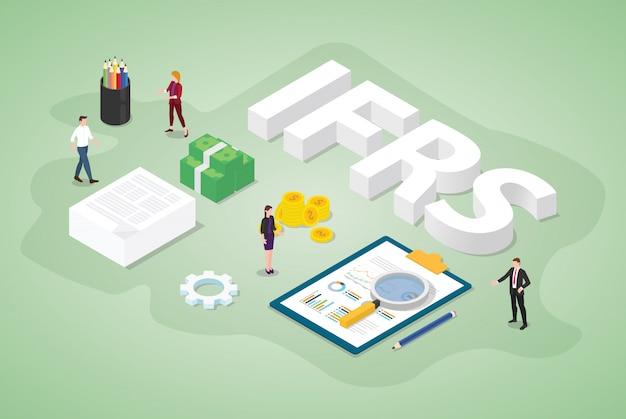 Concetto internazionale di standard di rendicontazione finanziaria di ifrs con le persone del gruppo e documento di rapporto