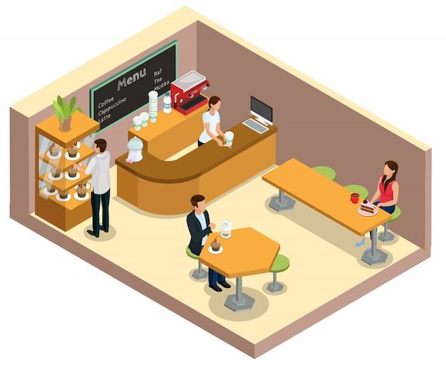 Concetto interno di caffetteria isometrica con barrister al bancone clienti che bevono caffè e mangiano dessert ai tavoli isolati