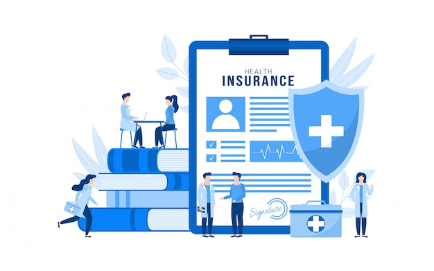 Concetto isolato dell'illustrazione dell'assicurazione medica, pazienti della gente, medici.