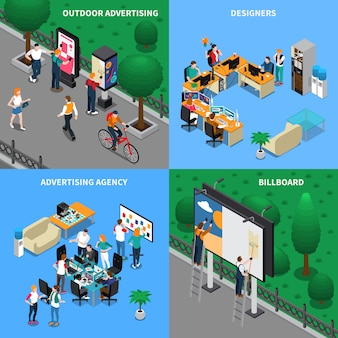 Concetto isometrico agenzia pubblicitaria