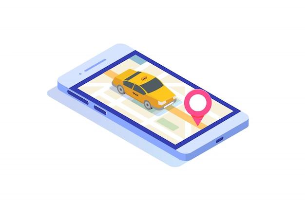 Concetto isometrico app taxi mobile online. punto di percorso gps e cabina gialla.