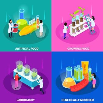 Concetto isometrico degli alimenti artificiali con le verdure crescenti in laboratorio e prodotti geneticamente modificati isolati