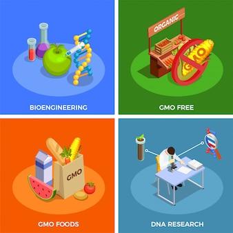 Concetto isometrico degli organismi geneticamente modificati