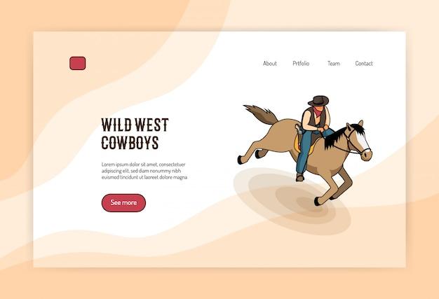 Concetto isometrico del cowboy del selvaggio west a cavallo dell'insegna di web su luce