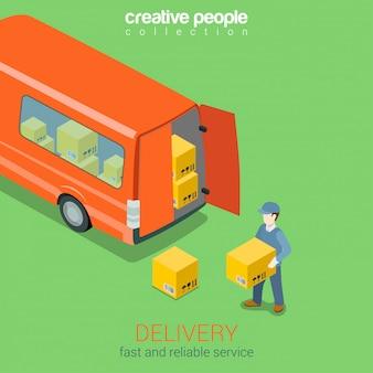 Concetto isometrico del furgone di servizio di consegna. il corriere tiene la scatola prima di consegnare l'illustrazione delle porte posteriori del camion.