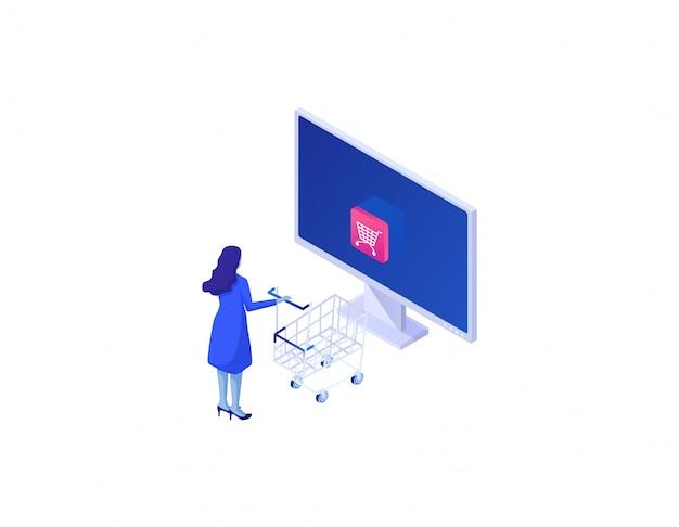 Concetto isometrico del negozio di acquisto online. ordinazione web di beni tramite internet pagamento sicuro con dati sicuri.