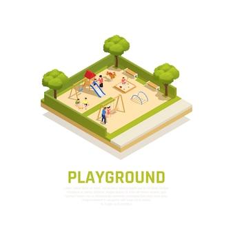Concetto isometrico del parco giochi con simboli di passatempo famiglia all'aperto