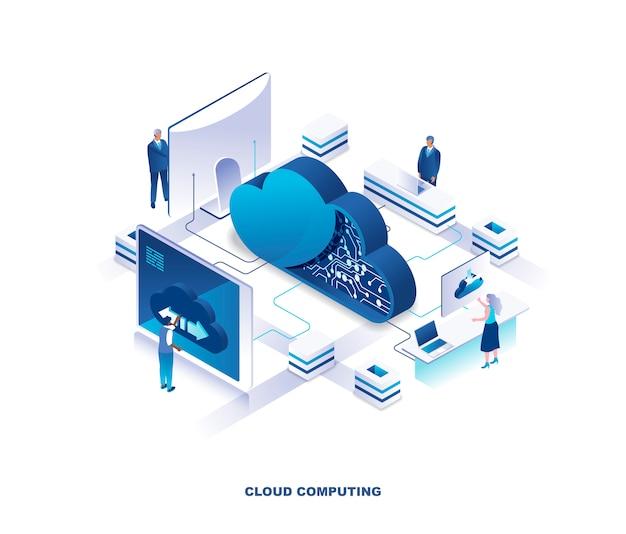 Concetto isometrico del servizio di cloud computing