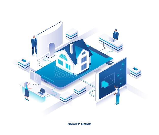 Concetto isometrico del sistema di casa intelligente