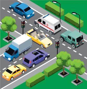 Concetto isometrico del traffico cittadino