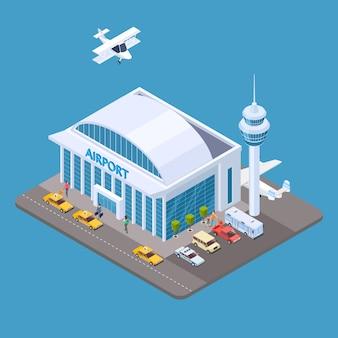 Concetto isometrico dell'aeroporto di vettore con passeggeri, taxi, aereo