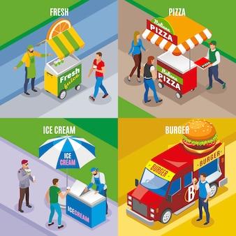 Concetto isometrico dell'alimento della via con il gelato e l'hamburger freschi della pizza del succo