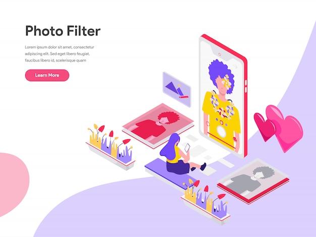 Concetto isometrico dell'illustrazione del filtro dalla foto