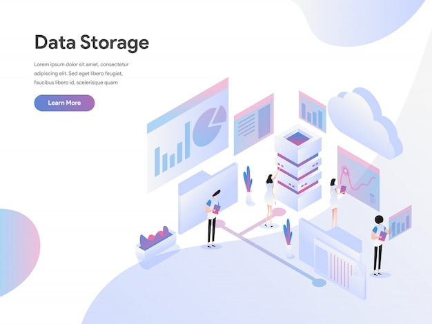 Concetto isometrico dell'illustrazione di archiviazione di dati