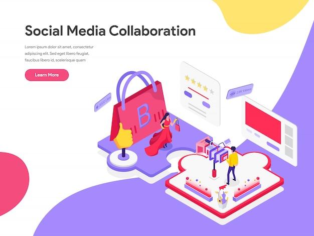 Concetto isometrico dell'illustrazione di collaborazione di media sociali