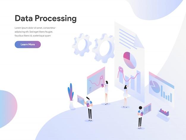 Concetto isometrico dell'illustrazione di elaborazione dei dati