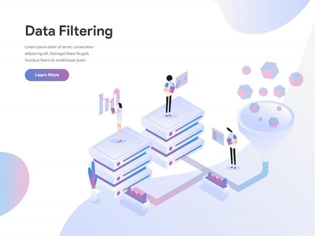 Concetto isometrico dell'illustrazione di filtraggio di dati