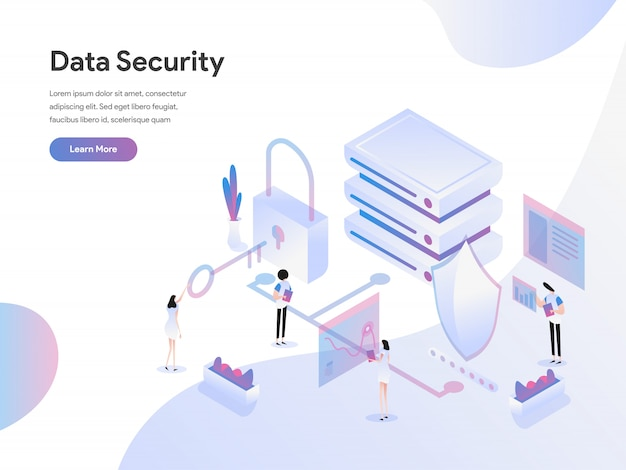 Concetto isometrico dell'illustrazione di sicurezza dei dati
