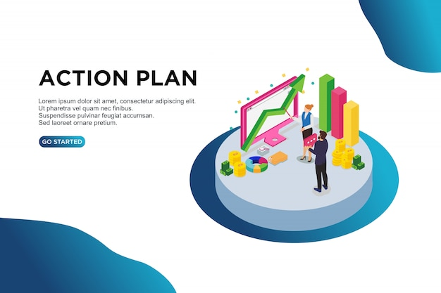 Concetto isometrico dell'illustrazione di vettore del piano d'azione.